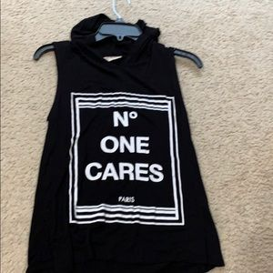 """""""No one cares"""" top with hood"""